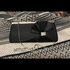 Lulu Townsend black sateen clutch
